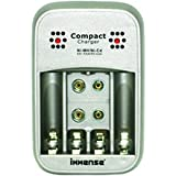 Immense Compact Charger, Charges 2/4 Pcs AA/AAA NI-MH/NI-CD, 1/2 Pcs 9V Rechargeable Batteries