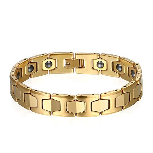 JewelryWe Schmuck Herren Magnet Armband, Wolfram Wolframcarbid, 12mm Breit I Sechseck Link Atemberaubendes Solides Poliert Magnetarmband Gliederarmband, Gold