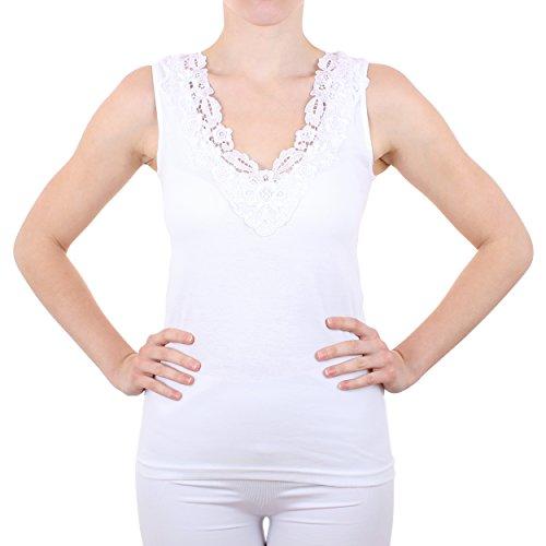 Damen Hemd mit Spitze (Shirt, Top, Unterhemd) Nr. 57/2  Weiß