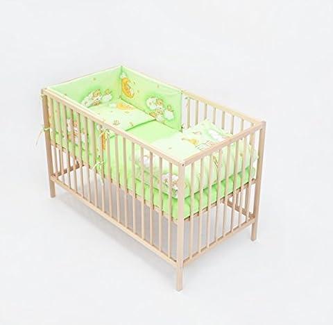 Ensemble set complet 6 pieces parure de lit literie pour bébé 70x140 (lit) (dessin: nounours dans le ciel_vert)