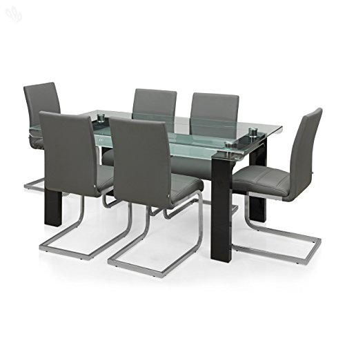 Royal Oak Aster Six Seater Dining Table Set (Grey)