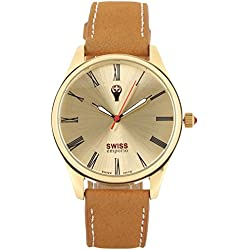 Swiss Emporio Men's Quartz Swiss Made Watch with Gold Dial Analogue Display and Brown Leather Strap SE02GLGL10