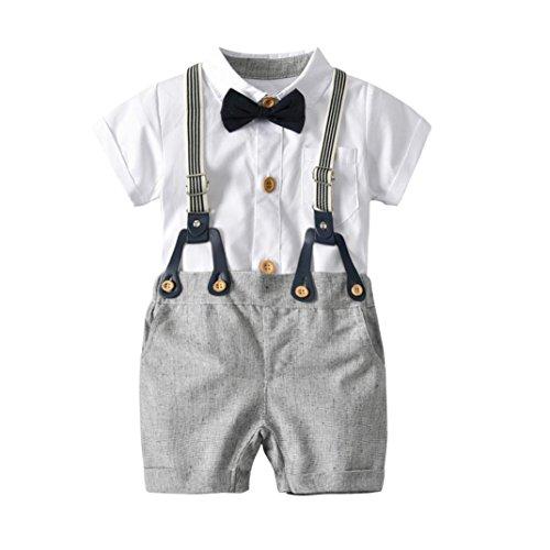onnena Baby Kleikind Junge Kurzarm Gentleman Krawatte Shirt Hemd Tops + Bib Pants Hosen Outfit Set Sommer Tägliche Baumwolle Babykleidung Babyanzug für 1-3 Jahre (3 Jahre, Weiß) (Superman Anzug Für Kinder)