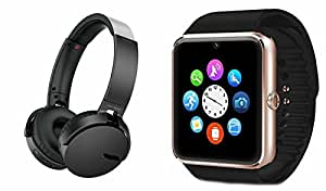 MIRZA Extra Extra Bass XB450 Headphones & GT08 Bluetooth Smart Watch for LG OPTIMUS L7 II(XB 450 Headphones,With MIC,Extra Bass,Headset,Sports Headset,Wired Headset & Bluetooth GT08 Smart Watch Wrist Watch Phone with Camera & SIM Card Support Hot Fashion New Arrival Best Selling Premium Quality Lowest Price with Apps like Facebook, Whatsapp, Twitter, Sports, Health, Compatible with Android iOS Mobile Tablet-Assorted Color)