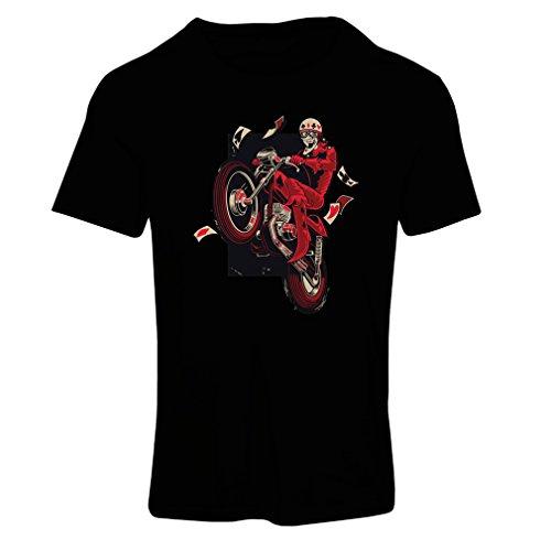 Maglietta donna motorcyclist - abbigliamento moto, abiti retrò (small nero multicolore)