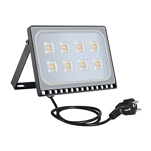 50W LED Flutlicht,Super helle Sicherheits-Flut-Lichter WasserdichtIP65, Europäischer Stecker, LED Flutlichtstrahler, LED Strahler, LED Scheinwerfer, LED Außenleuchten [Energieklasse A+] (50W Warmweiß)