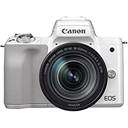 Canon EOS M50 Appareil Photo Hybride + EF-M 18-150 mm F/3.5-6.3STM - Blanc