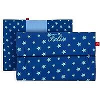 Windeltasche mit Namen für unterwegs in dunkelblau mit hellblauen Sternen (bag in bag - Geburtsgeschenk Junge Mädchen personalisiert)