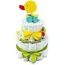 Elfenstall Windeltorte / Pamperstorte mit Spielzeug und Schnullertkette als tolles Geschenk / Geschenkset zur Geburt oder Taufe auf Wunsch mit Name des Babys