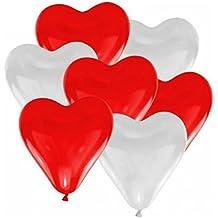100x JUNGEN Globos del corazón del amor globos Latex Corazón Globos Decoración con globos para Fiesta Cumpleaños Boda Colorido, día, Regalo de San Valentín Amor y Decoración (Rojo y Blanco)