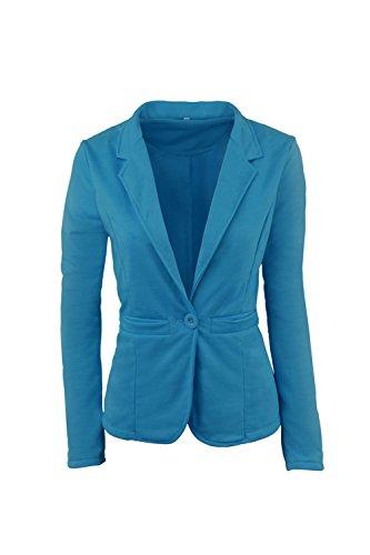 Le Donne Solido A Maniche Lunghe Risvolto Ufficio Breve Blazer Giacca Con Bottoni Blue