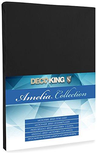 DecoKing Jersey Spannbettlaken Microfaser Spannbetttuch Black Boxspringbett Amelia
