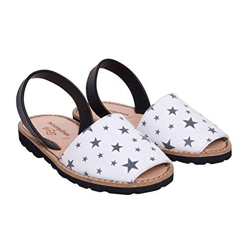 Minorquines - Sandales Avarca Cuir Etoiles - Enfant noir et blanc
