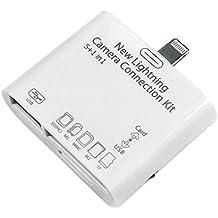 iprime® 5en 1Camera Connection Kit SD (SDHC), TF, M2, MS, MMC Lecteur de carte Lecteur de carte adaptateur Lightning pour Apple iPad 4, iPad 5Air, iPad Pro, iPad Mini, iPod Touch 5G–Prise en charge photos et vidéos–Compatible IOS 10