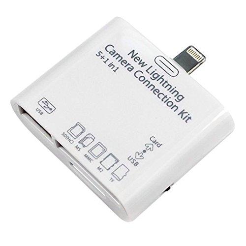 iPrime® 5in 1Camera Connection Kit SD (SDHC), TF, M2, MS, MMC lettore di schede Card Reader Adattatore Lightning per Apple iPad 4, iPad 5Air, iPad Pro, iPad Mini, iPod touch 5G-trasferimento di immagini e video-Compatibile con iOS 10