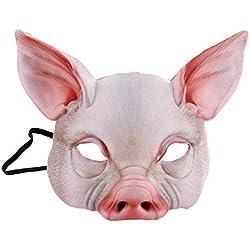 squarex ® Halloween 3D drôle Diable Cochon, Buffle, Lapin, Dragon Habiller Les Accessoires Masque Coiffures d'horreur en Latex,Mascarade,Pas d'odeur,Hypoallergénique,Femme,Homme,Couple (02 Cochon)