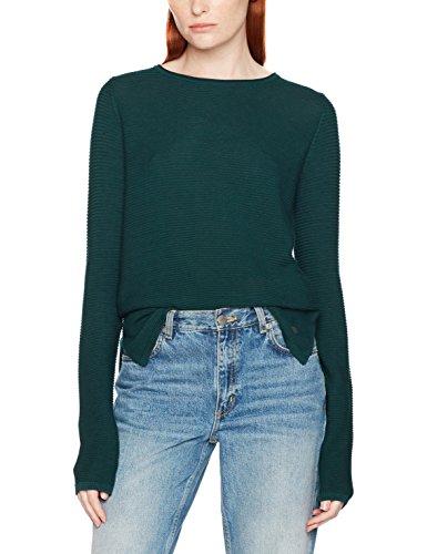 TOM TAILOR Damen Pullover Ottomane Sweater, Grün (Deep Green Lake 7610), 40 (Herstellergröße: L) (Grüne Streifen-baumwoll-pullover)