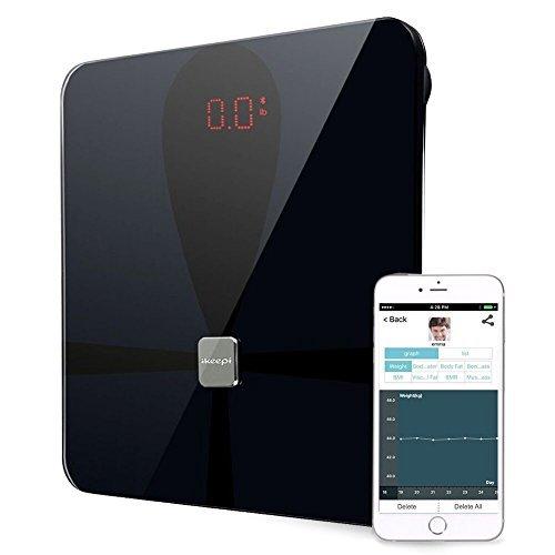 Ikeepi Körperfettwaage Bluetooth 4.0 mit App Körperfettanalyse IBM Fett messen, Personenwaage Digital für Fett Wasser Muskel bis 180kg, IOS und Android, Schwarz Fett Bluetooth