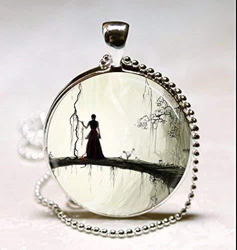 Gruseliger Frauen-Schmuck, gruselige Frauen-Halskette, Halloween, Glas, rund, Silber-Anhänger, Kunstfoto-Schmuck, Glas-Halskette