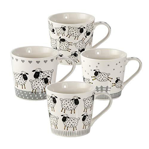 Juego de 4 Tazas Desayuno Originales de Porcelana Fina, Tazas de Café Grandes con Diseño Ovejas, Regalo para Mujer y Hombres Amantes de los Animales