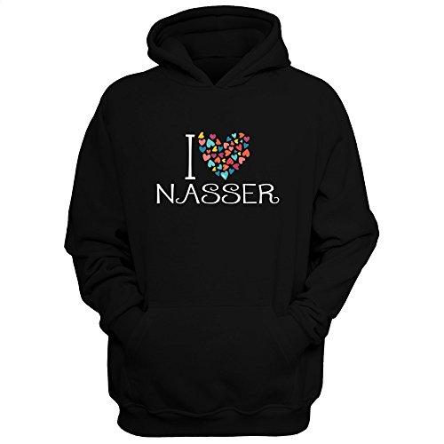 Idakoos I love Nasser colorful hearts - Male Names - Hoodie
