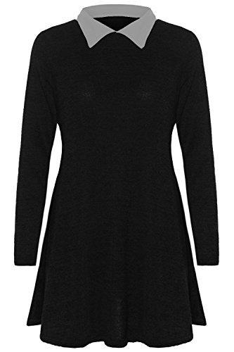 Damen Feinstrick Gestrickt Baggy Übergröße Mischung Kontrast Kragen Aufgeweitet Swing Kleid Top Größe UK 8-14 - Schwarz Mergel - Bubikragen College, 44/46 (Feinstrick-mischung)