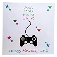 """""""Just One More Game"""" Personalised Happy Birthday Greeting Card Computer Gaming Fan - ps4, xbox, pc"""