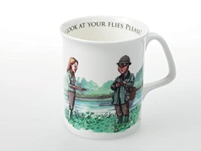 1 x Can I look at your flies please - humorous fishing mug by Bryn Parry. Collectable bone china mugs with fun images on perfect as fly fishing gifts, for fishing lodges etc from Bryn Parry