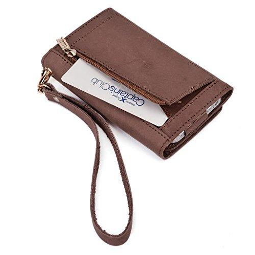 Kroo Pochette Housse Téléphone Portable en cuir véritable pour Huawei Ascend Y550/Ascend G64G, Lenovo Vibe X Marron - marron Marron - peau