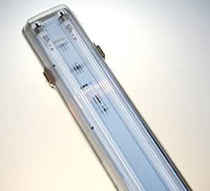 4FT 36Watt Twin weatherproof fluorescent fitting. This is a top quality fitting which is rated IP65 which is a very high resistance to water. Robust manufacture. Can be used anywhere that you require a protected tube, even great in garages where you may knock the tube, a safe alternative. Safe to be used outdoors. Electronic Ballast no starters and no flickering. We supply them complete with tubes, all ready to go..