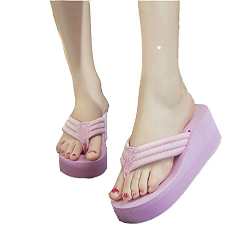 Womens Girls Ladies Plateau Flip Flops Wedge Sandalen Slip auf Antiskid Strand Pantoffeln Weiß (Dressy Sandalen Mädchen)
