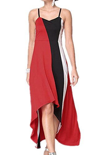 Monissy Femme Robe Sans Bretelle Robe De Plage Mousseline De Soie Sling Rayure Rouge