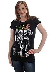 Bob Marley–One Love Camiseta de mujer diseño de rayas en color negro