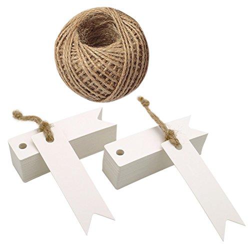 Etichette per regali in carta kraft con cordicella, taglia mini (7 x 2 cm), adatte per matrimoni, colore marrone, in confezione da 100, con 30 m di spago di iuta (bianco)