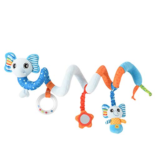 Lomsarsh Infant Baby Kids Cartoon Stroller and Bed Spiral Cart Seat Pram Hanging Toys Baby Cartoon Animal Car Hanging Rattle Bed Bell Ring Bed Hanging Bed Around Baby Carriage Pendant -
