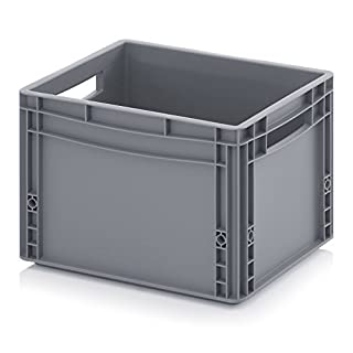 400 x 300 Euro Stacking Heavy Duty Plastic Storage Containers Boxes Crates GREY (400 x 300 x 270mm)