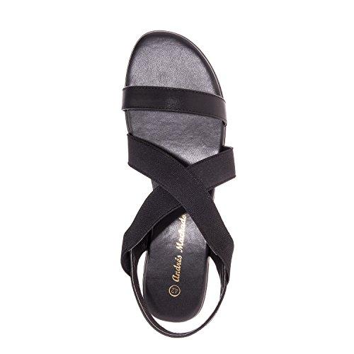 Andrés Machado.AM5139.Sandales élastique.Grandes Pointures 42/45 Noir