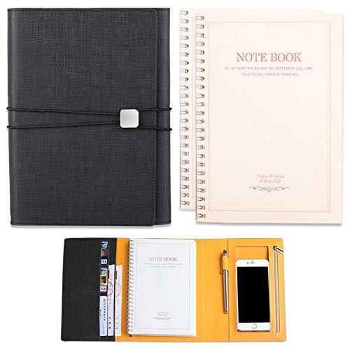 Notizbuch A5 Dotted, PU Loose-Leaf Multi-Item Speicher Notebook Meeting Folder Folio mit Kartentasche, Handytasche, Stiftablage usw. Geschenk - 1 X Reserve Notebook 1 X Stift