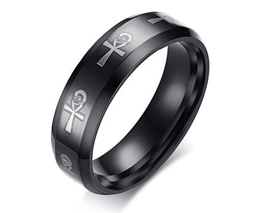 Vnox 8mm Herren Antik Edelstahl ägyptischen Ankh Kreuz des Lebens Hochzeit Promise Ring schwarz