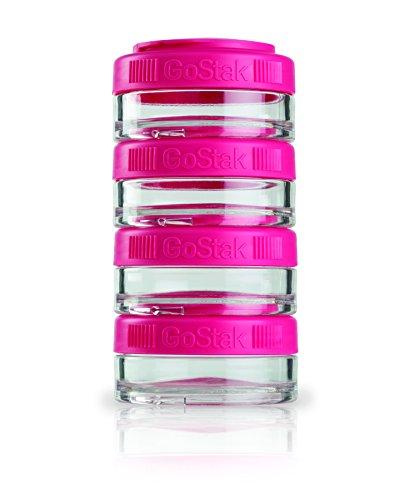BlenderBottle GoStak 4Pak - Contenedor de la nutrición de acampada y senderismo, 40ml, rosa - (4x 40ml)
