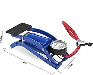 AMTOPZ High Pressure Foot Pump, Bike Motorbike Inflation Pump with Pressure Gauge, Foot Pedal Inflator Single Barrel Cylinder Air Pump Inflation Pump for Motorcycles, Bicycle Tyre Balls, Tires Car