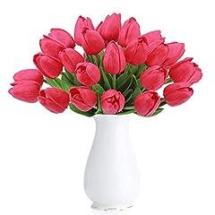 Idea Regalo - Amkun 10 pezzi Realistico PU Artificiale Olanda Tulipano Fiori finti Bouquet Disposizione per Cucina di casa Soggiorno Tavolo da pranzo Decorazioni di nozze (Red)