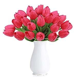 Amkun 10 pezzi Realistico PU Artificiale Olanda Tulipano Fiori finti Bouquet Disposizione per Cucina di casa Soggiorno Tavolo da pranzo Decorazioni di nozze (Red)