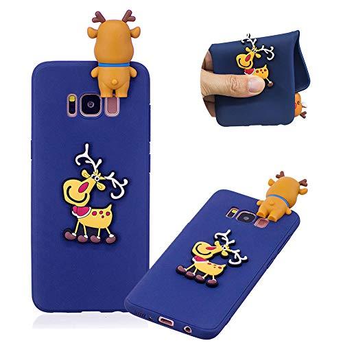 TPU Hülle für Galaxy S8,Weiche Gummi Handyhülle für Galaxy S8,Moiky Ziemlich 3D Dekor Weihnachten Stil Muster Silikon Schutzhülle - Elch,Dunkel Blau