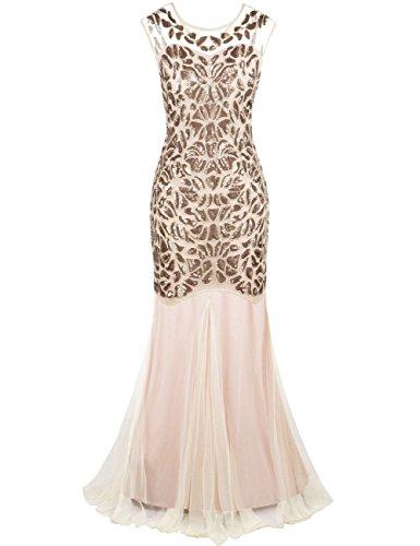 Kayamiya Damen Gatsby Kleid 1920er Perlen Pailletten Maxi Lange Charleston Meerjungfrau Abendkleid 44-46 Champagne (Kleid Meerjungfrau Elegante)