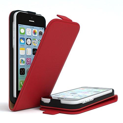 Apple iPhone 5C, EAZY CASE Premium Flip Case Handyhülle Schutzhülle als Klapphülle, Wallet Cover, Etui, Smartphone Tasche in Dunkelblau Rot