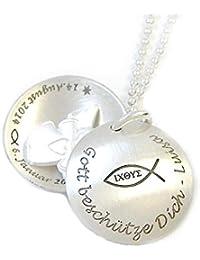 ICHTHYS Taufkette Schutzengel Medaillon Silber - Schmuckwerk925