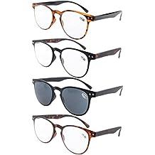 Eyekepper gafas de lecturra 4-pack ronda completa cobertura ultrafina marco flexible incluye gafas de sol +0.5