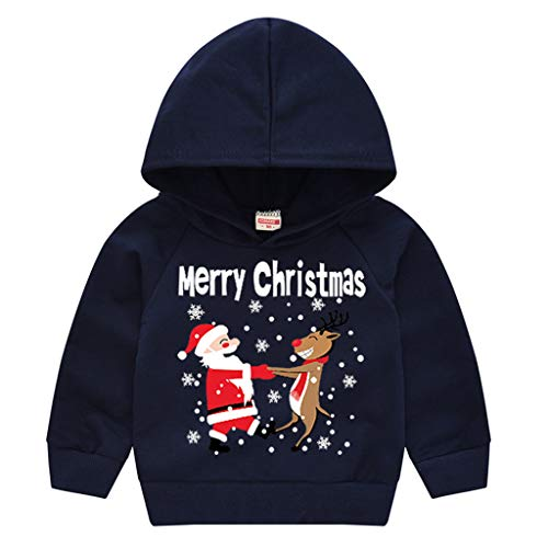 LEXUPE Baby Jogginganzug Mädchen 3PCS Outfits SetBrief Gedruckt Spielanzug Overall + Hirsch Sport Hosen + Soft Cap Weihnachten Outfits Set Prinzessin Rot Freizeit Kleider(B-Marine,130)