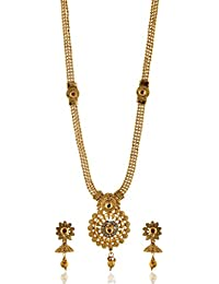 Reeti Fashions - Traditional Multicolour Stone Studded Round Motif Necklace Set For Women (RF17_10B_97)